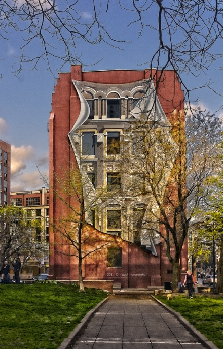 trompe l'oeil/mural on the Gooderham 'Flatiron' Building